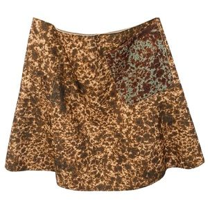 new Carven ❦ Wool Print A-Line Skirt ❦ Chocolate